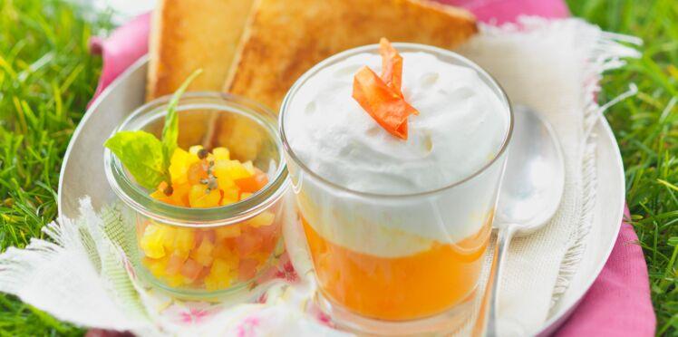 Soupe de tomate jaune et poivron doux, chantilly au Chavroux
