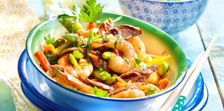 Wok de veau et crevettes