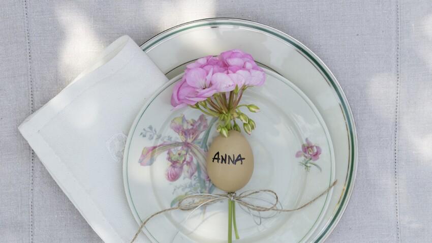 Repas de Pâques : réalisez un marque place avec des géraniums