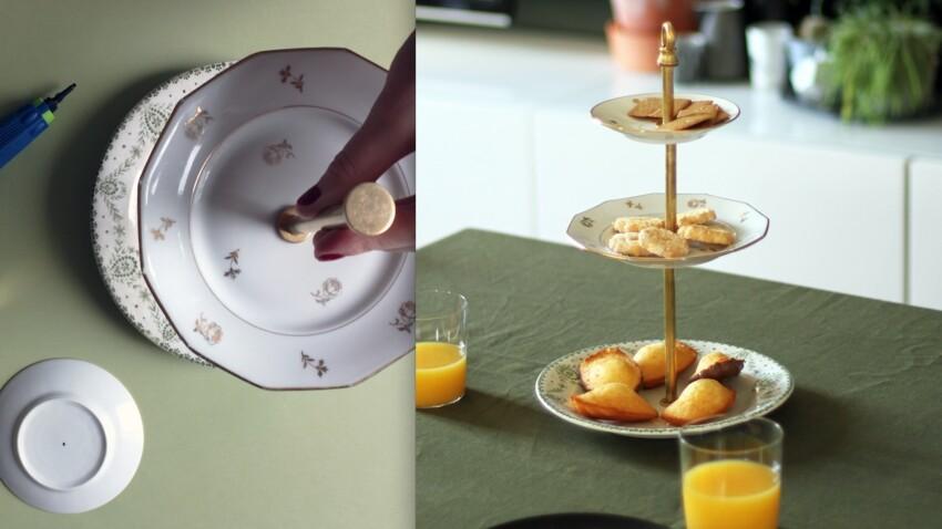 Comment fabriquer un présentoir à gâteaux avec 3 assiettes