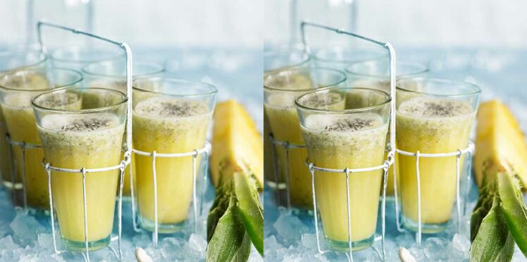 Smoothie coco-ananas au gingembre