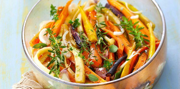 Salade tiède de carottes au sésame