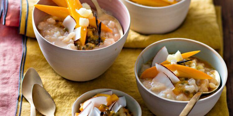 Riz au lait d'épeautre et fruits exotiques