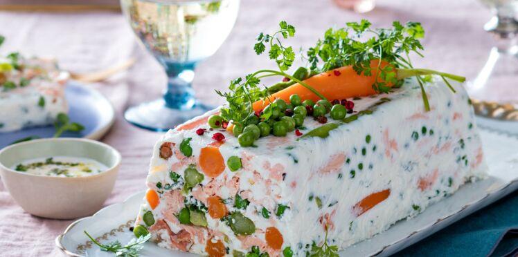 Terrine de légumes de printemps au saumon