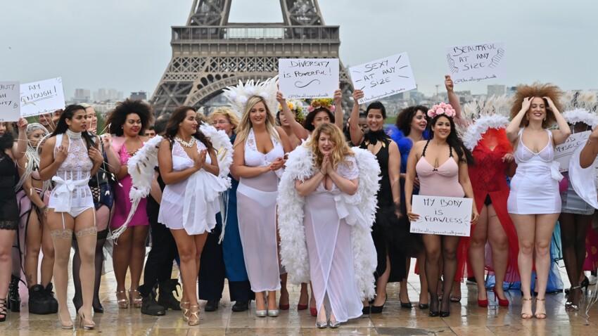 Photos - Body positive - En soutiens-gorge et porte-jarretelles, les rondes défilent en petite tenue devant la tour Eiffel et assument leur corps