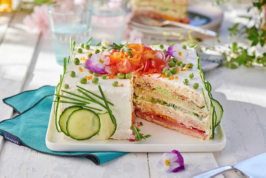 Sandwich cake à la truite fumée