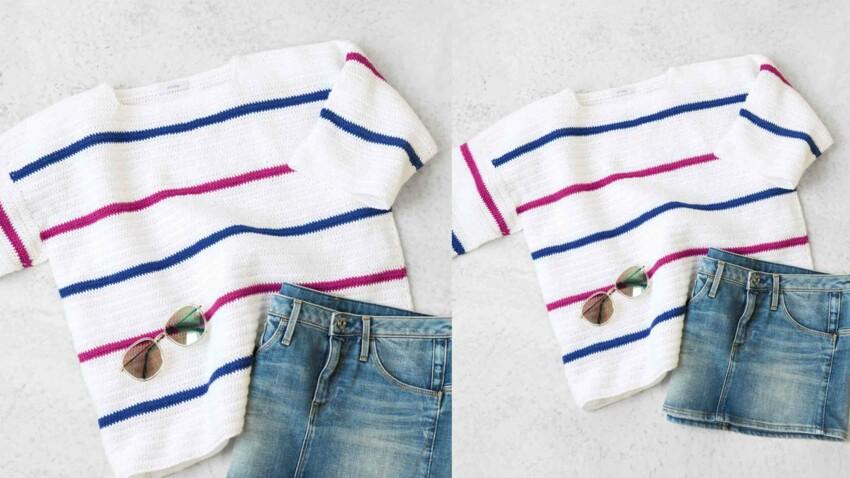 Crochet gratuit : le pull rayé en brides