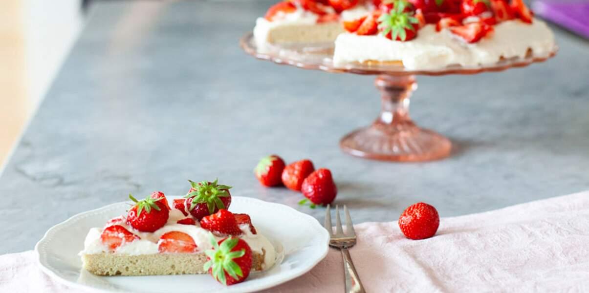 Gâteau aux fraises et chantilly sans gluten