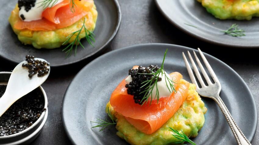 Blinis d'avocat, saumon fumé et caviar