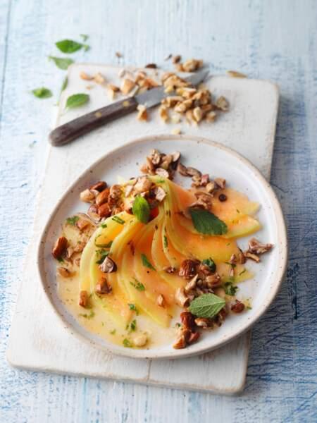 Carpaccio de papaye aux fruits secs caramélisés