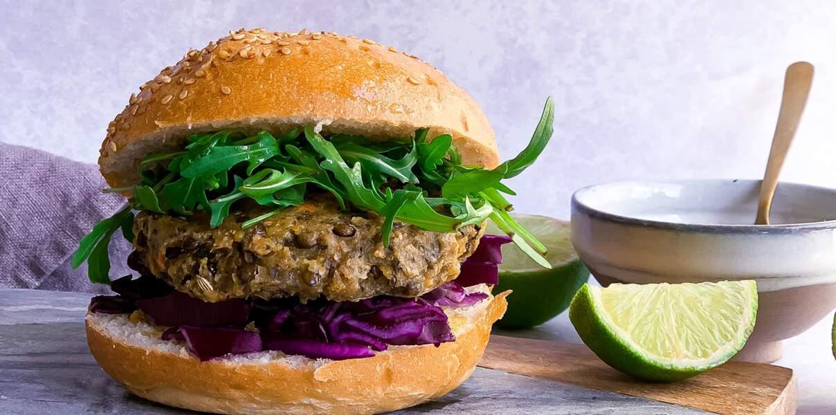 Burger végétal aux lentilles vertes