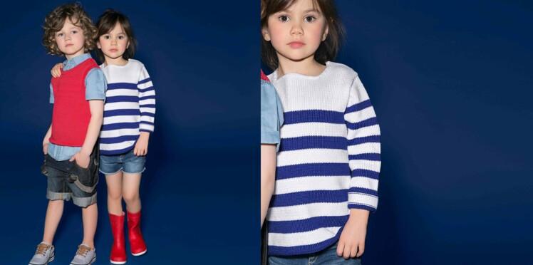 Tricot gratuit : le pull rayé enfant