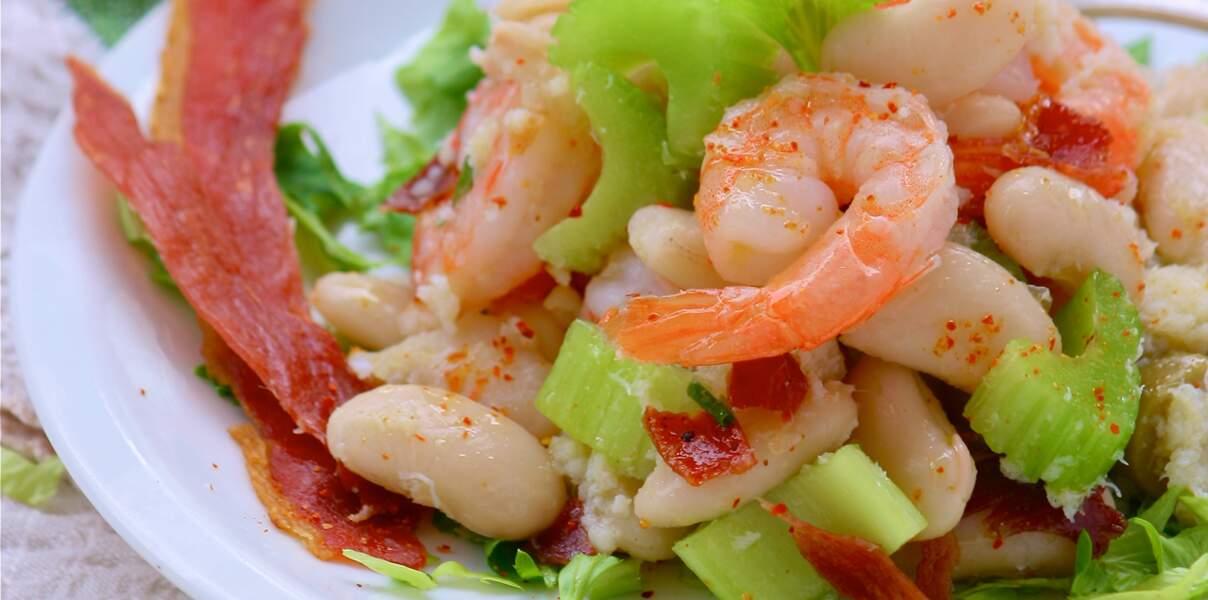 Salade terre-mer aux haricots tarbais et jambon de Bayonne croustillant