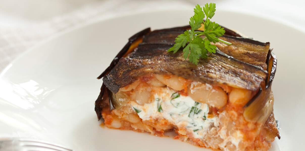 Timbales d'aubergines farcies aux haricots tarbais