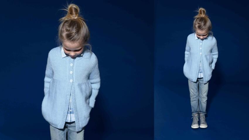 Tricot gratuit : le cardigan en jersey et côtes