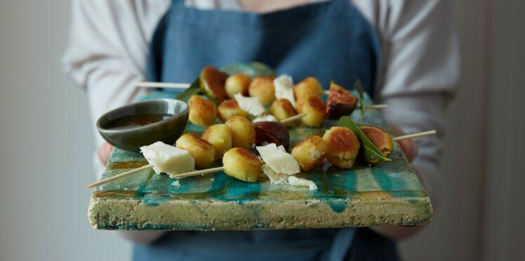 Gnocchi farcis à poêler jambon mozzarella au miel de figues rôties et au pecorino