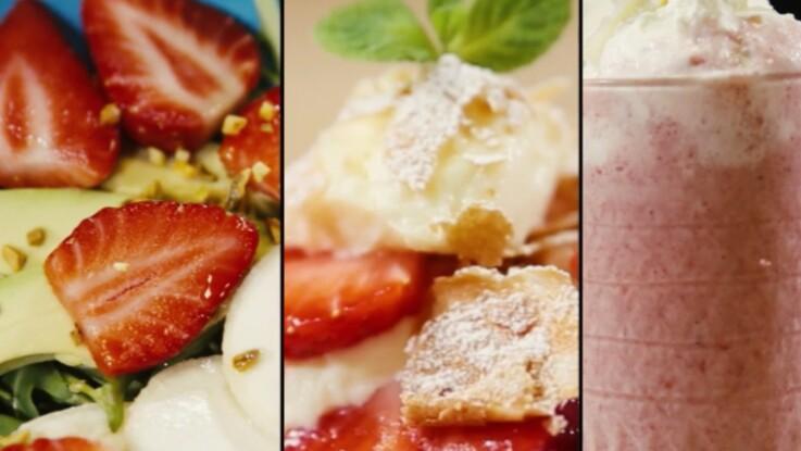 3 recettes express avec de la fraise