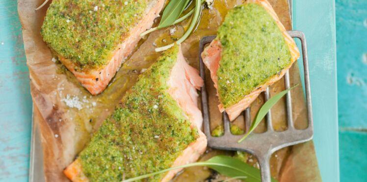 Pavés de saumon en croûte d'ail des ours
