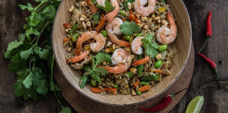 Riz thaï coco citronnelle sauté aux légumes et crevettes
