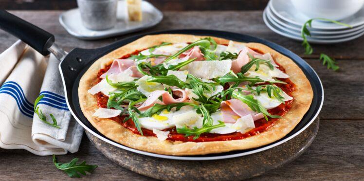 Pizza jambon & roquette à la poêle