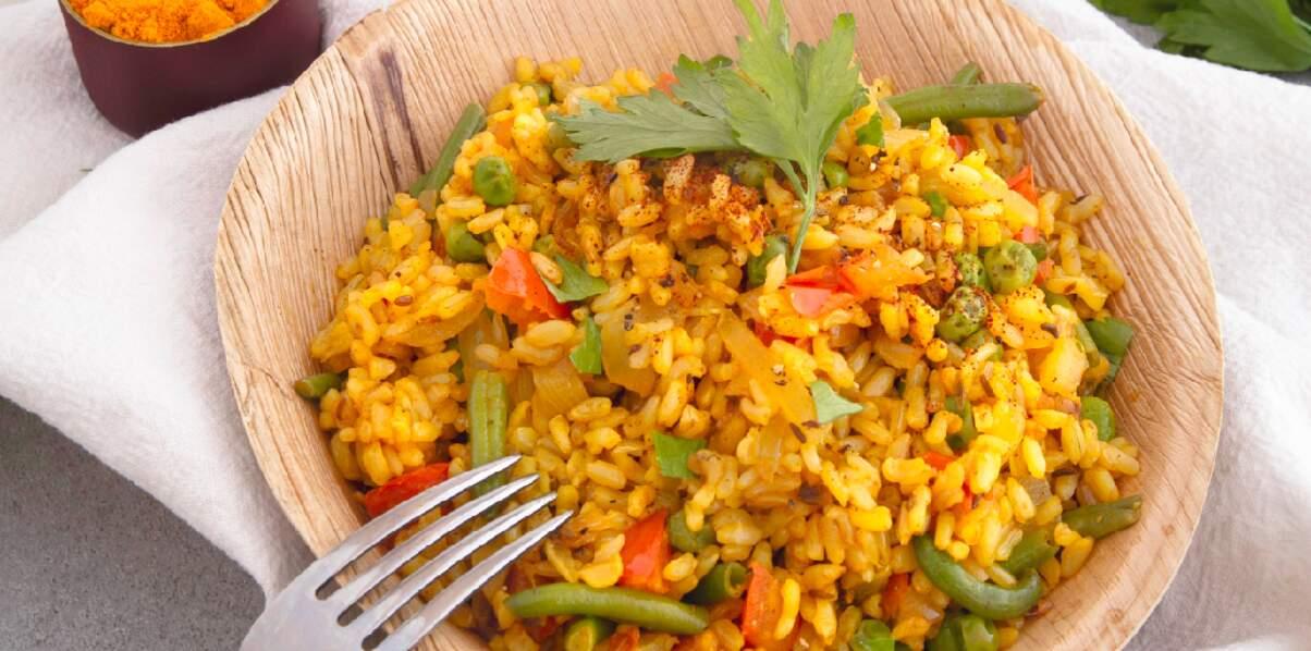 Riz complet express au curry et légumes verts