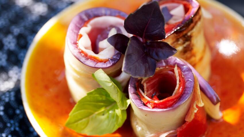 Roulés d'aubergines au jambon