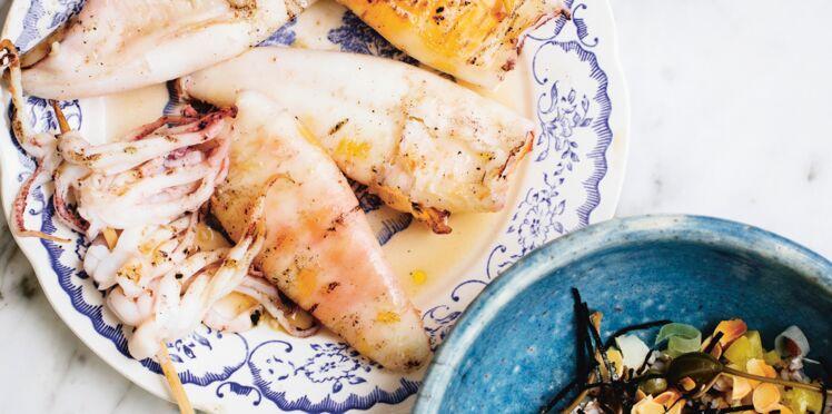 Calamars grillés et sarrasin marin
