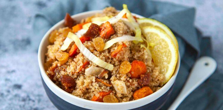 Quinoa aux légumes rôtis, endives et fruits secs