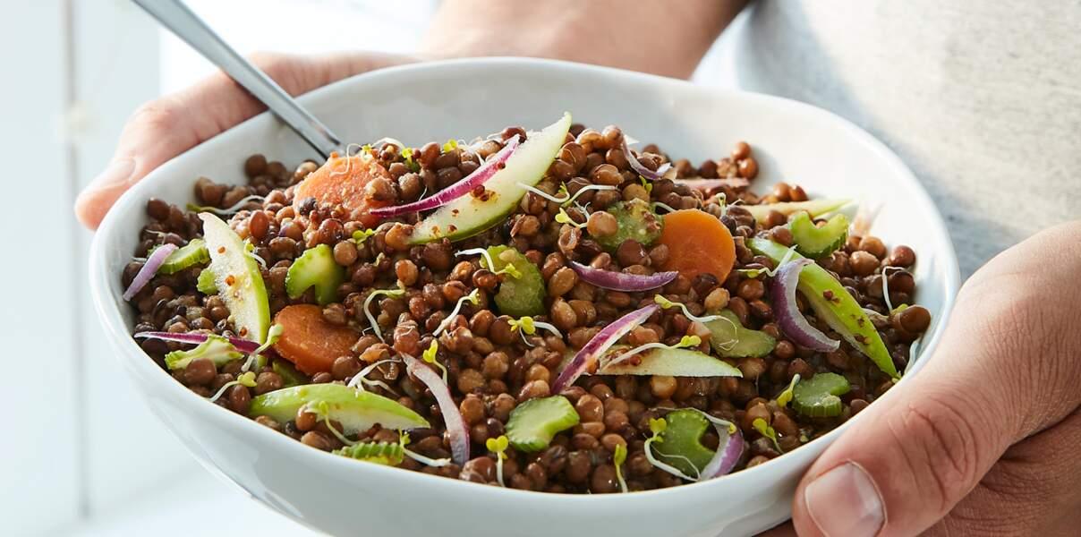 Salade vitaminée lentilles, céleri et pomme