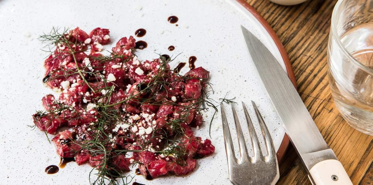 Tartare de bœuf, grana, fenouil sauvage et ricotta