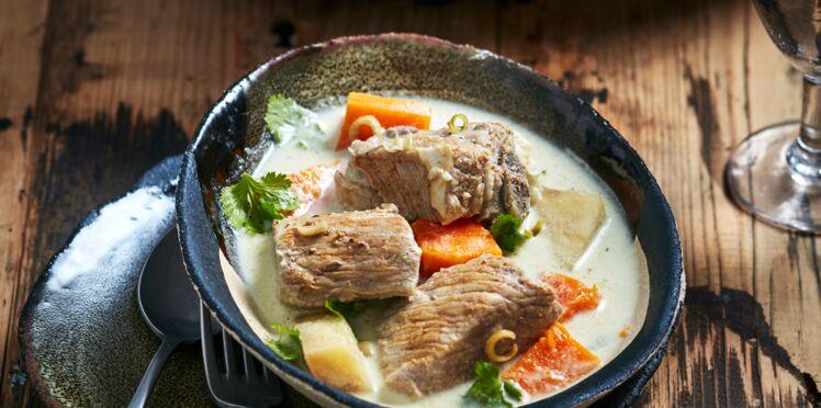 Blanquette de veau au lait de coco,  citronnelle, gingembre, curry vert, racines de cerfeuil et butternut