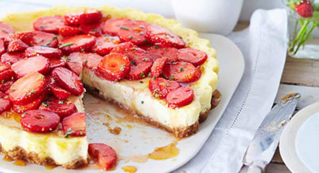Cheesecake aux fraises et romarin
