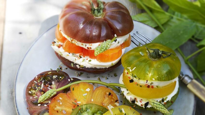 Burgers de tomates-mozzarella