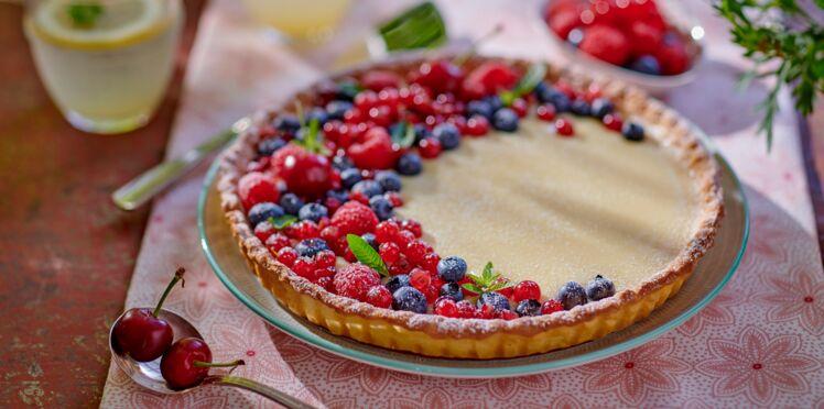 Tarte croissant de lune au chocolat blanc et fruits rouges