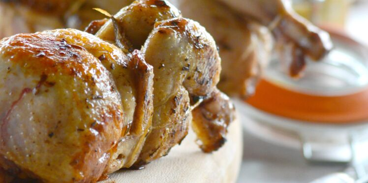 Caille fermière des Landes au foie gras et à l'Armagnac