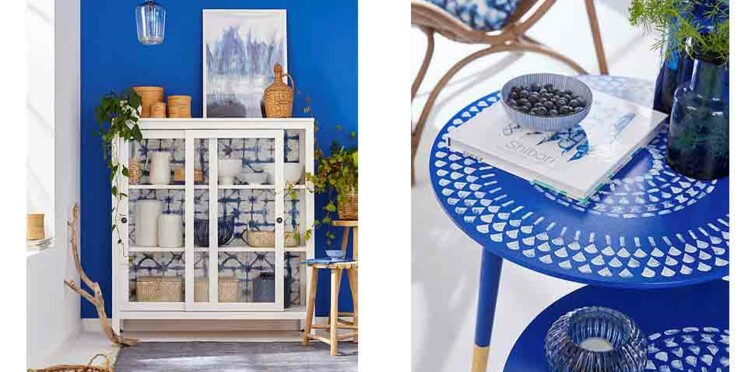 Plateau, table, vitrine... Adoptez la tendance Shibori