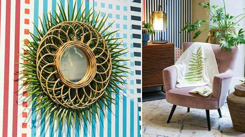 Table de chevet dans une cagette, plaid brodé, cache-pot dans un panier... Adoptez le style tropical