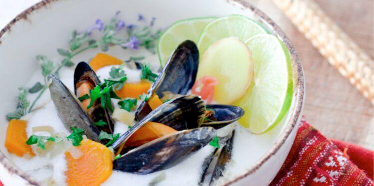Moules de bouchot au bouillon coco-citronnelle