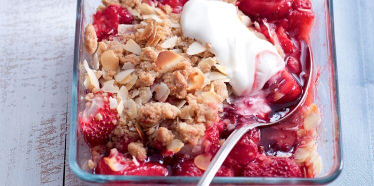 Crumble minute aux fraises