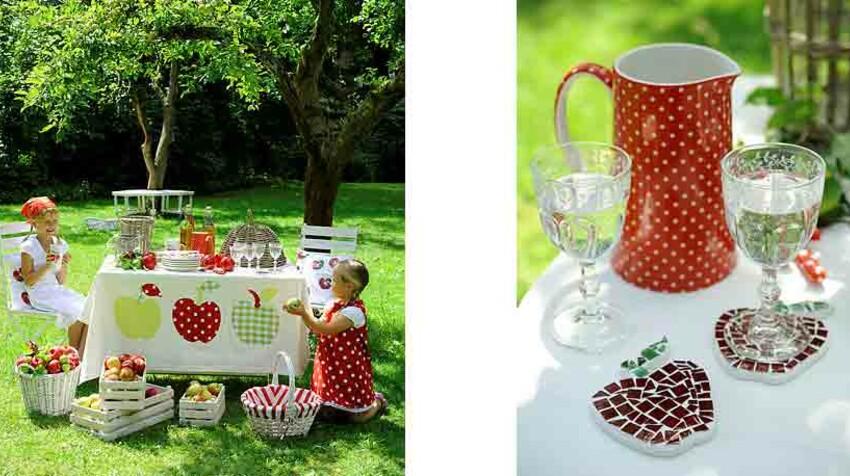 Couture, mosaïque, une décoration de table au motif pomme