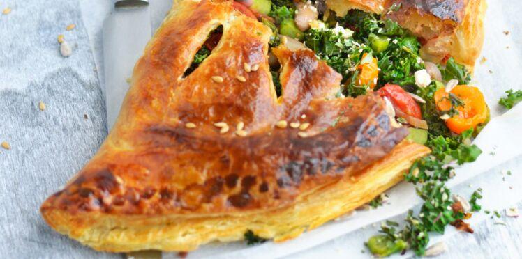 Chausson feuilleté au chou kale et à la féta