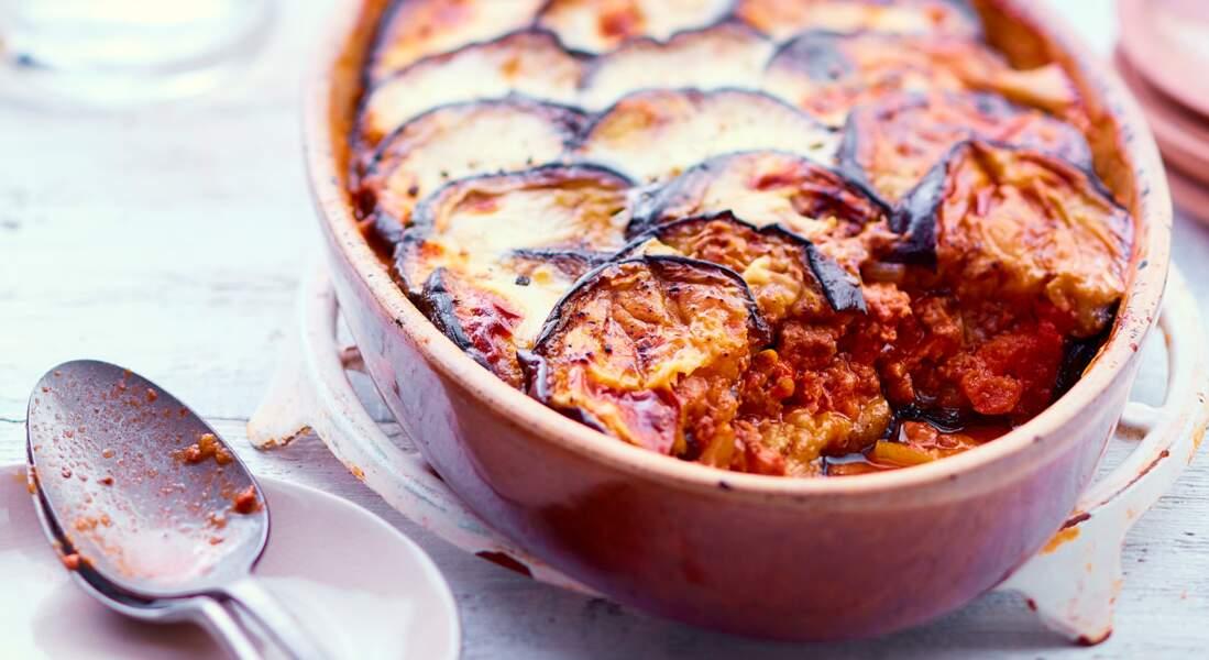 Gratin d'aubergine au boeuf et béchamel au parmesan