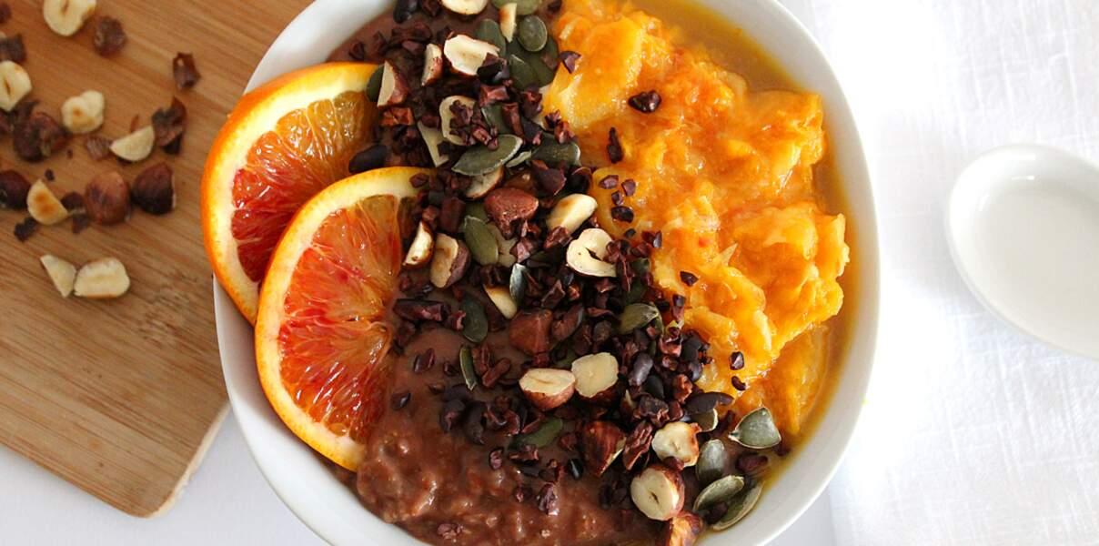 Porridge chocolat orange