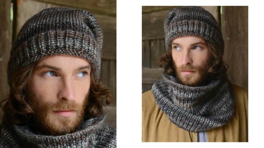 Tricot gratuit : le bonnet et snood coordonnés pour homme