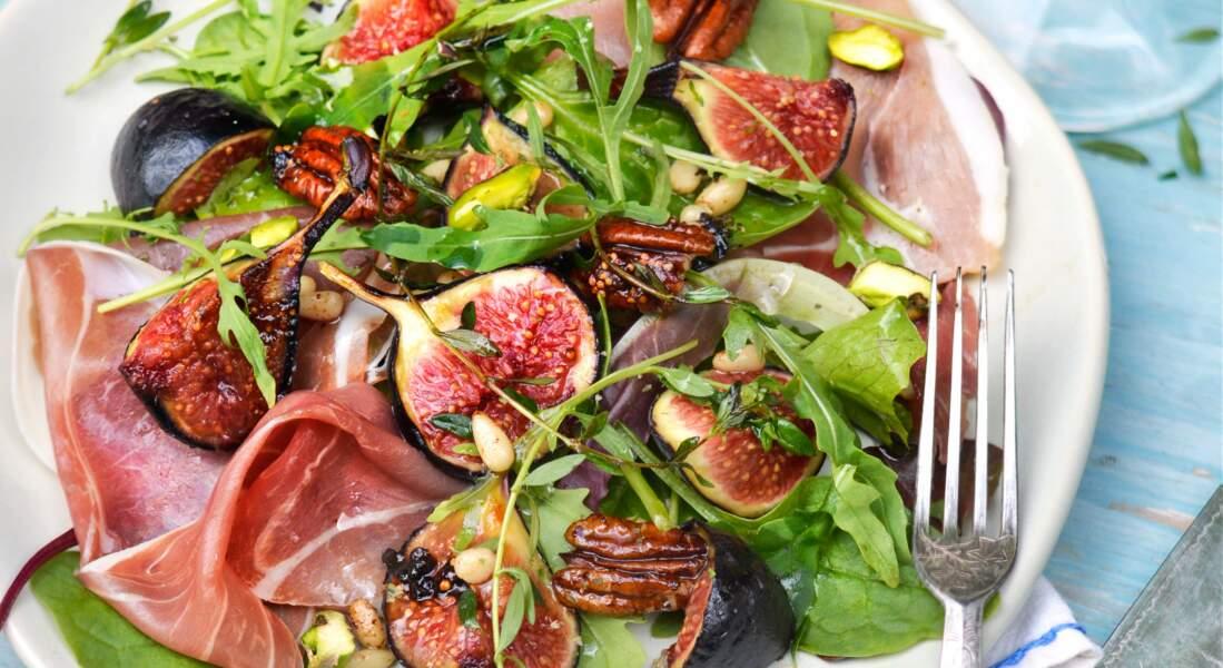 Salade de jambon cru aux figues rôties au miel