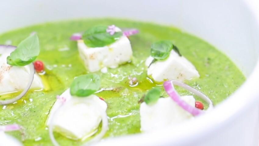 Soupe froide courgettes et feta marinée