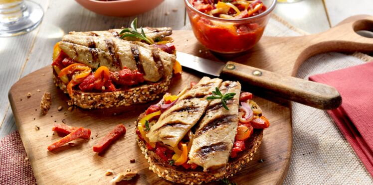 Bruschetta mer et terre aux filets de sardines grillés