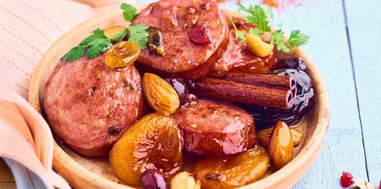 Tajine sucré-salé saucisse de Morteau et fruits secs