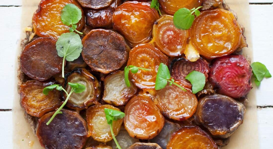 Tarte renversante aux betteraves et pommes de terre