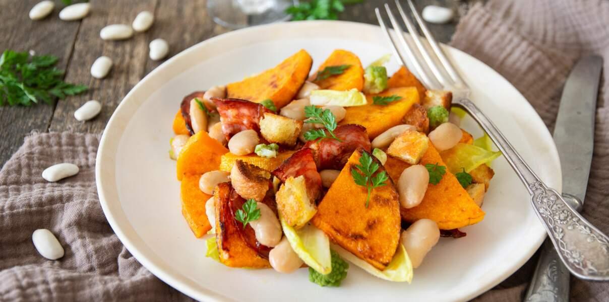 Salade chaud-froid de haricots tarbais, butternut & chorizo